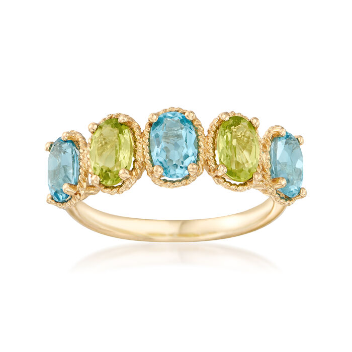 1.60 ct. t.w. Blue Topaz and .90 ct. t.w. Peridot Ring in 14kt Yellow Gold