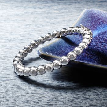 "Italian Sterling Silver Beaded Bangle Bracelet. 7"", , default"