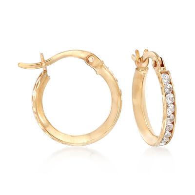 1.00 ct. t.w. CZ Huggie Hoop Earrings in 14kt Yellow Gold