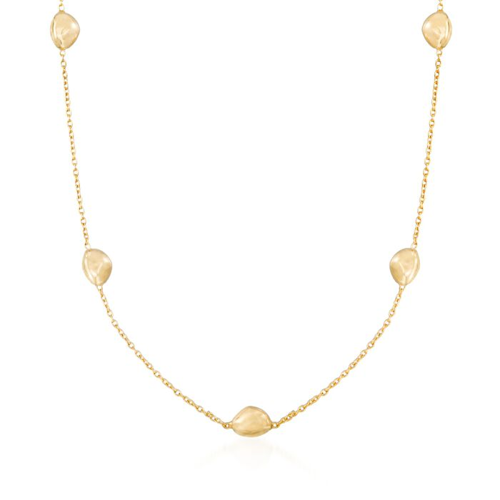 """Italian 18kt Yellow Gold Pebble Station Necklace. 18"""""""