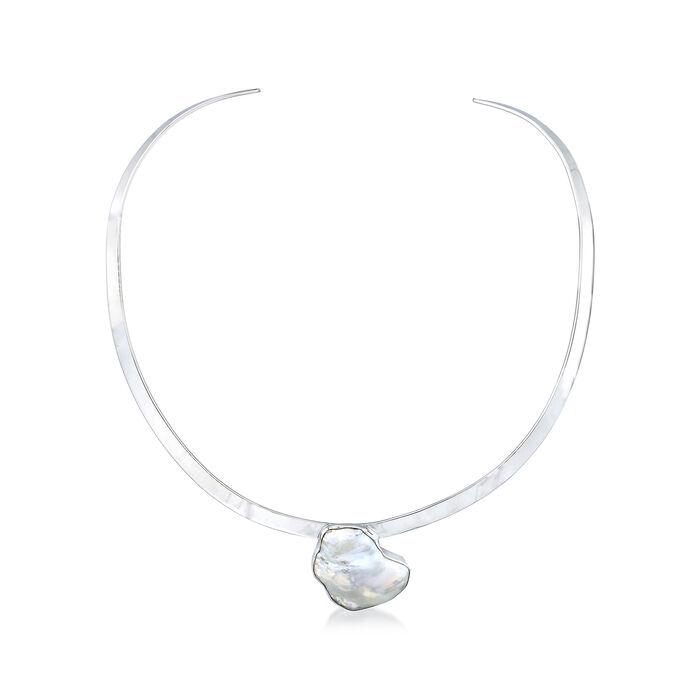 27x20 Cultured Semi-Baroque Pearl Collar Necklace in Sterling Silver