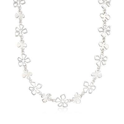 "Zina Sterling Silver ""Tiki"" Multi-Flower Necklace, , default"