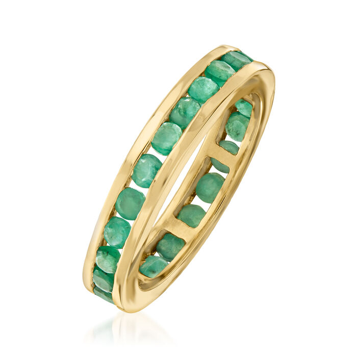 1.10 ct. t.w. Emerald Eternity Band in 14kt Yellow Gold