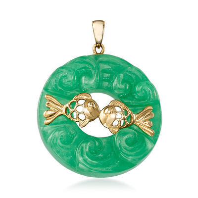 30mm Carved Jade with Kissing Fish Pendant in 14kt Yellow Gold, , default