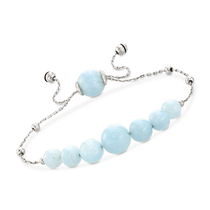 28.45 ct. t.w. Graduated Aquamarine Bead Bolo Bracelet in Sterling Silver, , default
