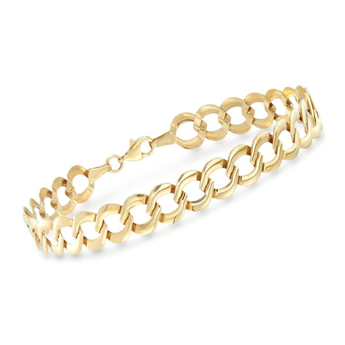 "14kt Yellow Gold Curb-Link Bracelet. 8"", , default"