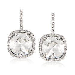 "Swarovski Crystal ""Latitude"" Clear Crystal Frame Drop Earrings in Silvertone , , default"