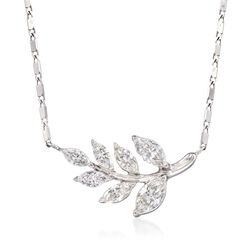 .75 ct. t.w. Diamond Leaf Necklace in 14kt White Gold, , default