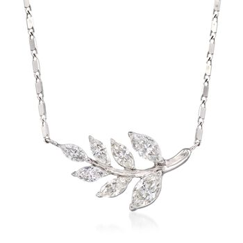 """.75 ct. t.w. Diamond Leaf Necklace in 14kt White Gold. 18"""", , default"""