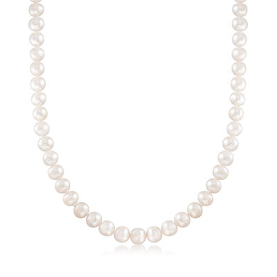 8-9mm Cultured Pearl Necklace with 14kt Yellow Gold, , default