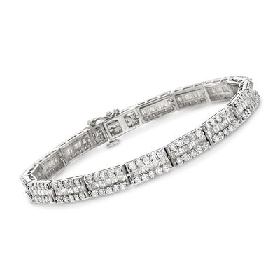 6.00 ct. t.w. Baguette and Round Diamond Bracelet in Sterling Silver, , default