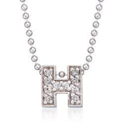 "Diamond Accent Initial ""H"" Pendant Necklace in 14kt White Gold. 16"", , default"