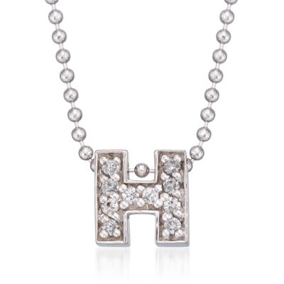 "Diamond Accent Initial ""H"" Pendant Necklace in 14kt White Gold, , default"