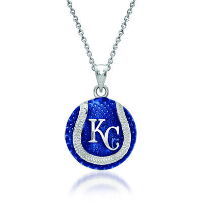 "Sterling Silver MLB Kansas City Royals Baseball Enamel Pendant Necklace. 18"""