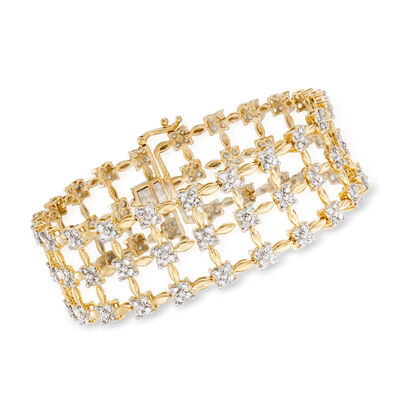 5.20 ct. t.w. Diamond Wide Weave Bracelet in 14kt Yellow Gold, , default