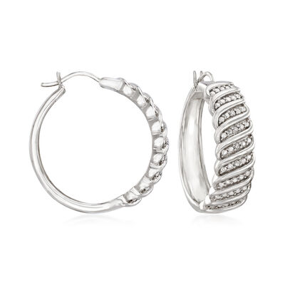 Diamond-Accented Hoop Earrings in Sterling Silver