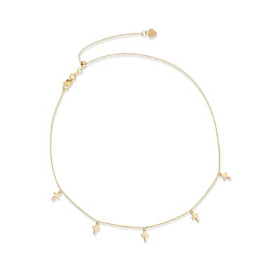 14kt Yellow Gold Multi-Cross Choker Necklace, , default