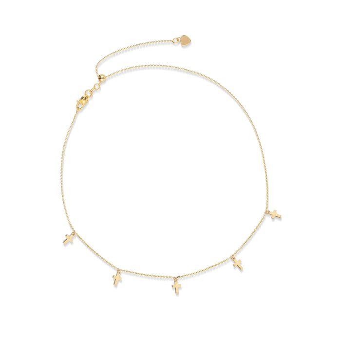 14kt Yellow Gold Multi-Cross Choker Necklace, , default