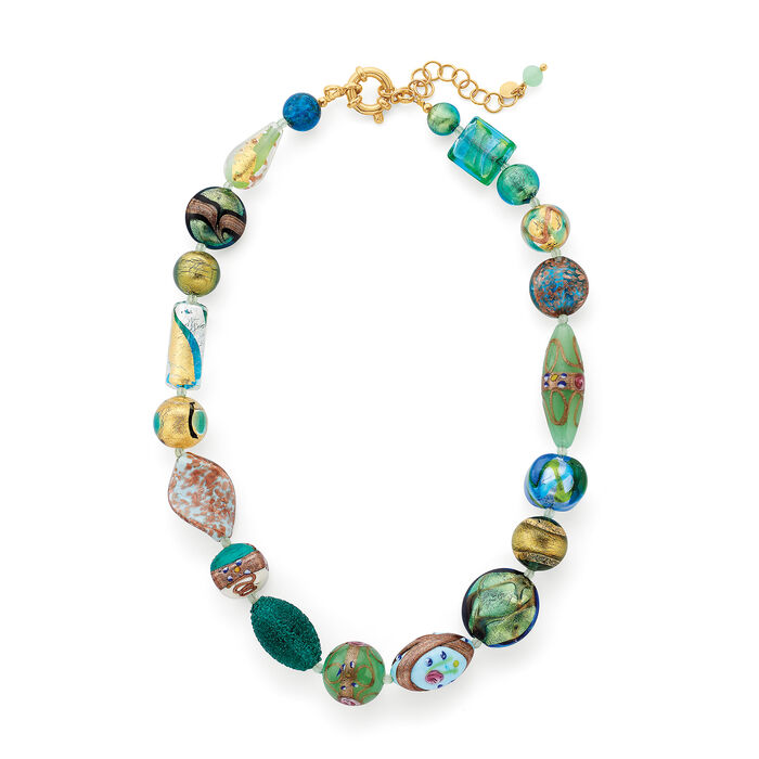 Italian Green and Blue Murano Glass Bead Necklace with 18kt Gold Over Sterling