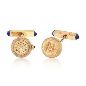 C. 1960 Vintage Lucien Piccard 14kt Yellow Gold Watch Cuff Links With Lapis and Synthetic Sapphire Accents, , default