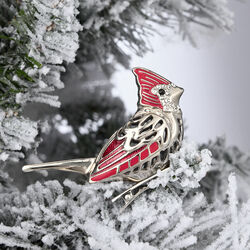 "Reed & Barton ""Best of the Season"" Red Enamel and Silver Plate Cardinal Bird Ornament, , default"