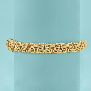 Andiamo 14kt Yellow Gold Byzantine Bangle Bracelet