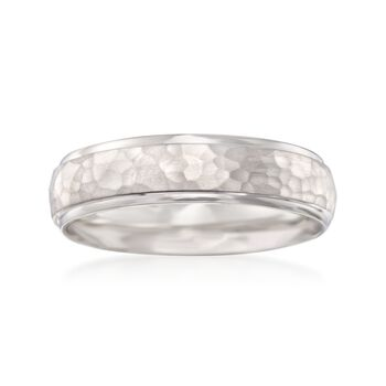 Men's 6mm 14kt White Gold Hammered Wedding Ring, , default
