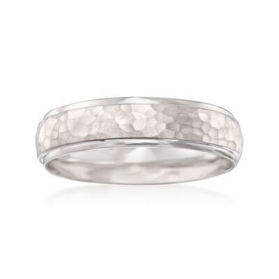 Men's 6mm 14kt White Gold Hammered Wedding Ring, , default