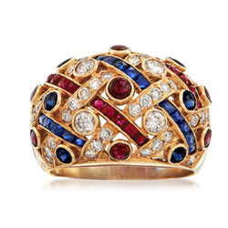 C. 1980 Vintage 1.70 ct. t.w. Ruby and 1.50 ct. t.w. Sapphire Ring With Diamonds in 18kt Gold. Size 8.5, , default