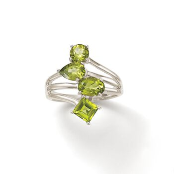 2.80 ct. t.w. Peridot Geometric Ring in Sterling Silver, , default