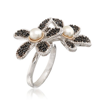 5-5.5mm Cultured Button Pearl and 1.10 ct. t.w. Black Spinel Flower Ring with 14kt Gold in Sterling Silver. Size 9, , default