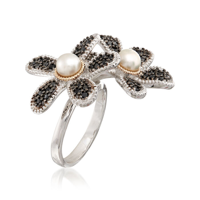 5-5.5mm Cultured Button Pearl and 1.10 ct. t.w. Black Spinel Flower Ring with 14kt Gold in Sterling Silver