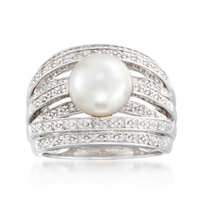 9mm Cultured Pearl and .20 ct. t.w. Diamond Highway Ring in Sterling Silver, , default
