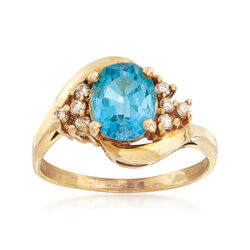 C. 1980 Vintage 2.45 Carat Blue Topaz and .20 ct. t.w. Diamond Ring in 14kt Yellow Gold, , default