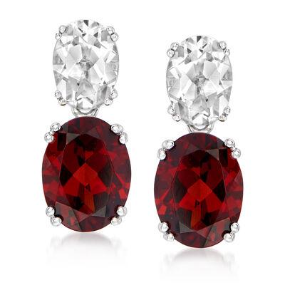 4.40 ct. t.w. Garnet and 2.00 ct. t.w. White Topaz Drop Earrings in Sterling Silver