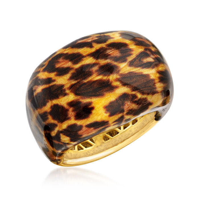 Italian Leopard-Print Enamel Ring in 18kt Gold Over Sterling