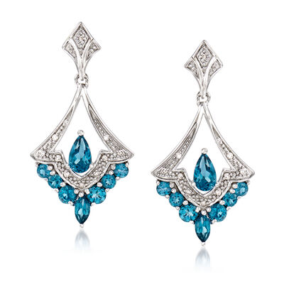 .90 ct. t.w. London Blue Topaz Drop Earrings in Sterling Silver with Diamond Accents, , default