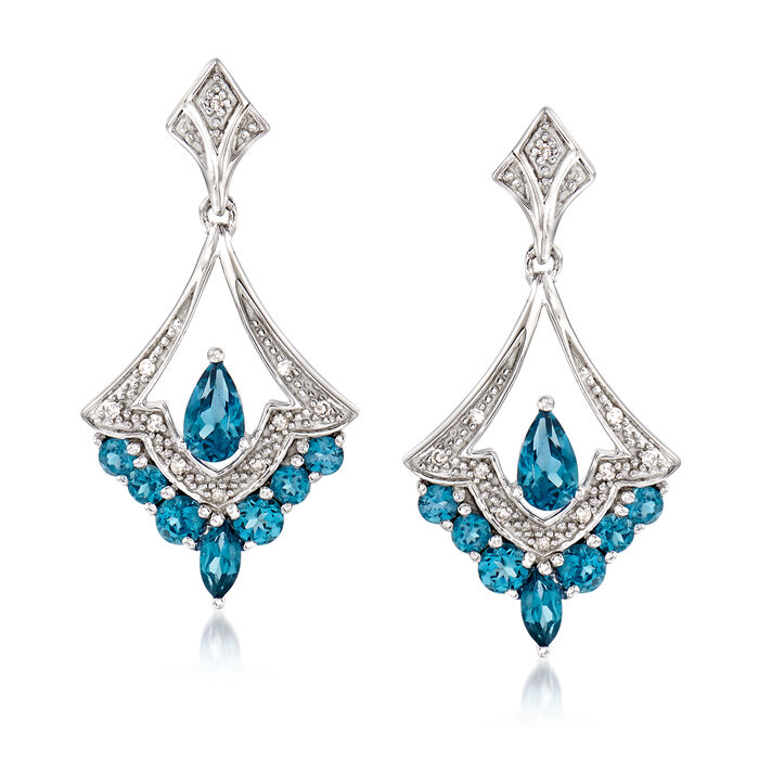 .90 ct. t.w. London Blue Topaz Drop Earrings in Sterling Silver with Diamond Accents