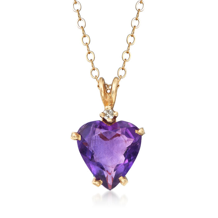 "C. 1980 Vintage 2.45 Carat Amethyst Heart Pendant Necklace in 14kt Yellow Gold. 18"", , default"