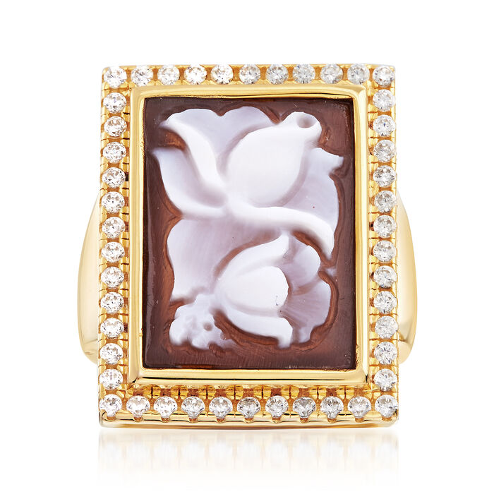 Italian Shell Flower Cameo and .70 ct. t.w. CZ Ring in 14kt Yellow Gold Over Sterling Silver