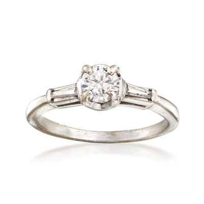 C. 1960 Vintage .50 ct. t.w. Diamond Ring in 14kt White Gold, , default