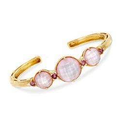 "Judith Rikpa ""Allure"" Pink Mother-Of-Pearl Doublet and .46 ct. t.w. Diamond Bracelet With Pink Tourmalines in 18kt Gold. 7"", , default"