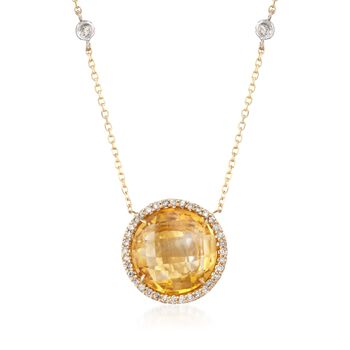 "5.25 Carat Citrine and .30 ct. t.w. Diamond Necklace in 14kt Yellow Gold. 18"", , default"