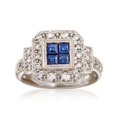 C. 1990 Vintage .40 ct. t.w. Sapphire and .50 ct. t.w. Diamond Ring in 18kt White Gold, , default