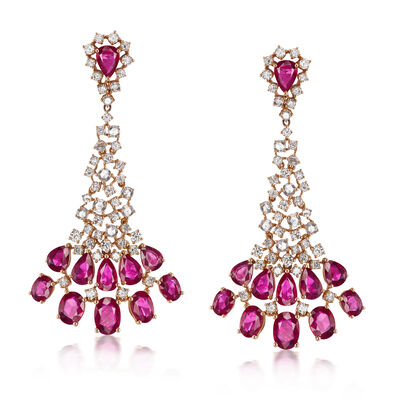 13.00 ct. t.w. Ruby and 3.90 ct. t.w. Diamond Drop Earrings in 18kt Rose Gold