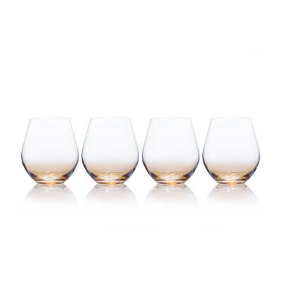 """Mikasa """"Gianna"""" Set of 4 Ombre Amber Stemless Glasses"""