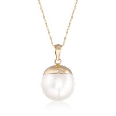 12-13mm Cultured Oval Pearl Pendant Necklace in 14kt Yellow Gold