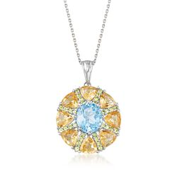 "9.00 ct. t.w. Multi-Stone Starburst Pendant Necklace in Sterling Silver. 18"", , default"