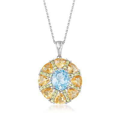 9.00 ct. t.w. Multi-Stone Starburst Pendant Necklace in Sterling Silver , , default