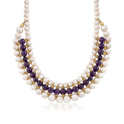Italian 8-10mm Amethyst Bead and 8-11.5mm Cultured Pearl Double-Row Drop Necklace in 18kt Gold Over Sterling, , default